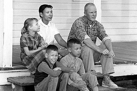 Richard and Mildred Loving and their children. A movie about their court case will release in Fall 2016.