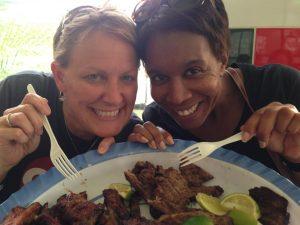 My friend, Karen and I enjoying our favorite restaurant in Honduras...Power Chicken! Amazing!