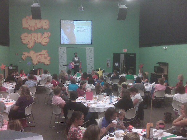 You can barely see me, but this is the first beauty talk that I gave to our CedarCreek MOPS group in 2010.
